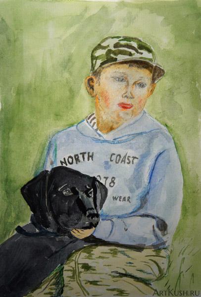 """""""Мальчик с собакой"""", авт. К. Кушенов, с фотографии Даны Мадалиевой"""
