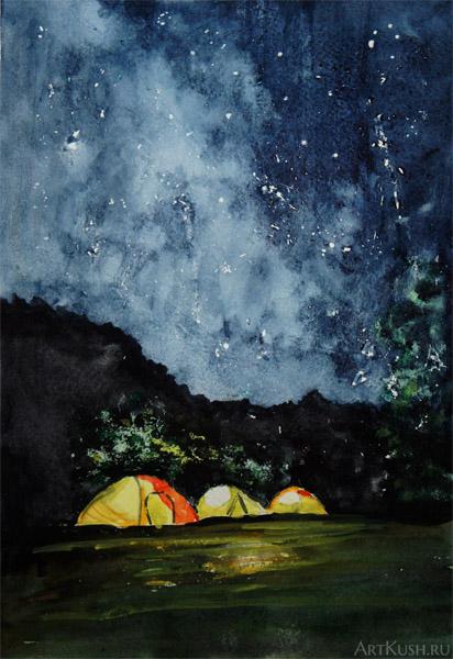 """""""Палатки в ночи"""", авт. Кушенов К. с фотографии Даны Мадалиевой"""