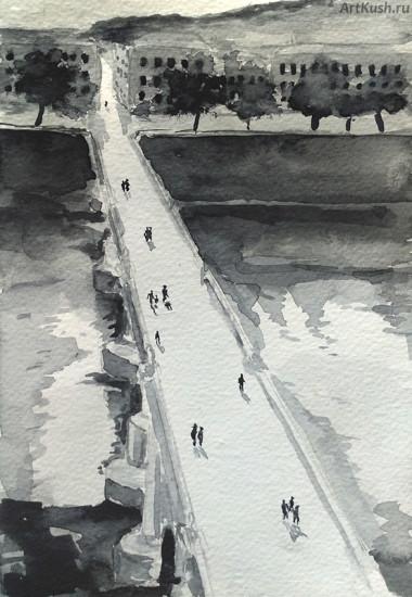 """""""Пейзаж с мостом"""", авт. Кушенов К."""